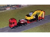 #604 Scania R13 HL mit Tieflader mit Bagger