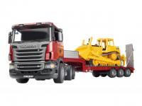 Scania LKW mit Tieflader mit Bulldozer